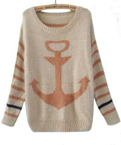 Pink Striped Long Sleeve Anchor Print Mohair Sweater