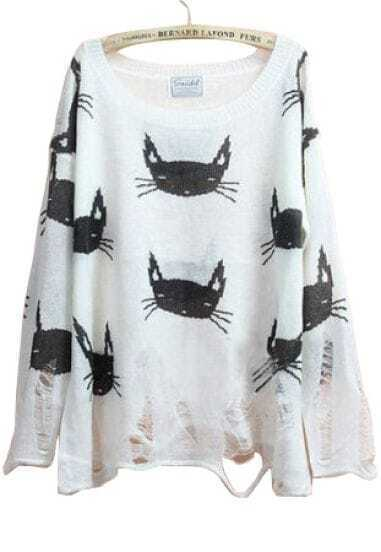 White Long Sleeve Cats Print Ripped Sheer Sweater