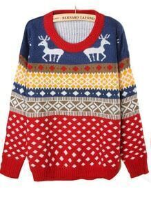 Blue Long Sleeve Geometric Deer Print Pullovers Sweater