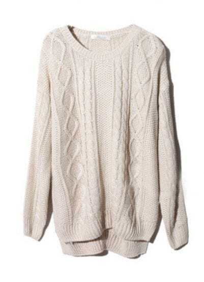 Beige Long Sleeve Geometric Pullover Cable Knit Sweater