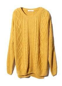 Yellow Long Sleeve Geometric Pullover Cable Knit Sweater