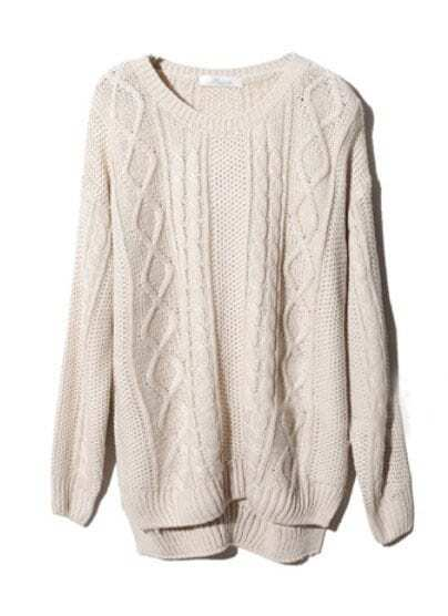 Beige Long Sleeve Geometric Pullover Cable Knit Sweater -SheIn ...