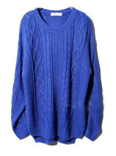 Blue Long Sleeve Geometric Pullover Cable Knit Sweater