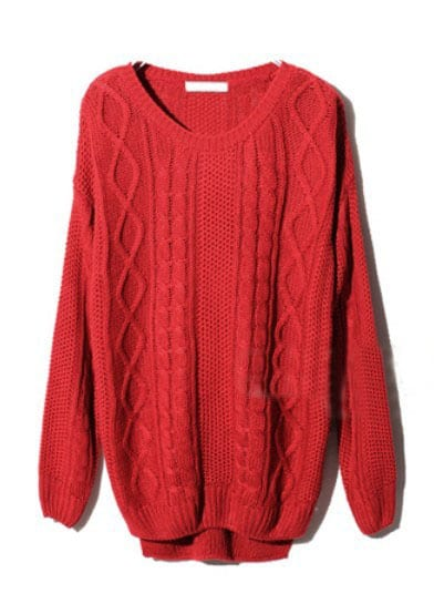 Red Long Sleeve Geometric Pullover Cable Knit Sweater -SheIn ...