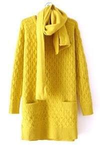 Yellow Long Sleeve Diaper Pockets Loose Sweater