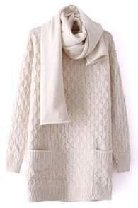 Beige Long Sleeve Diaper Pockets Loose Sweater