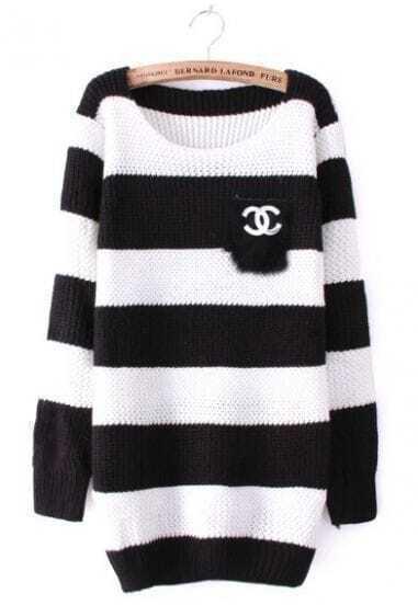 Black White Striped Long Sleeve Pocket Sweater