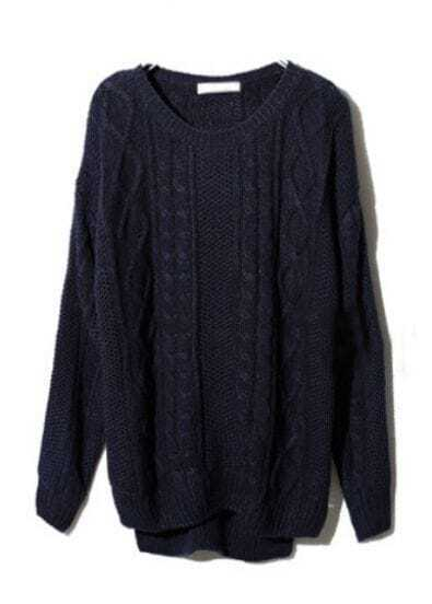 Navy Long Sleeve Geometric Pullover Cable Knit Sweater