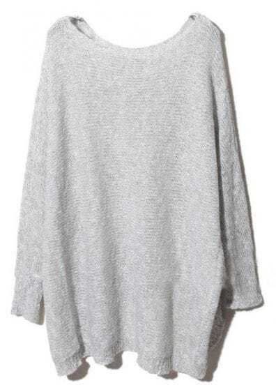 Light Grey Batwing Long Sleeve Loose Sweater