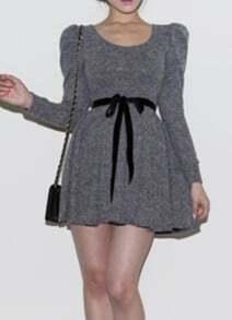 Grey Long Puff Sleeve Ribbon Ruffles Wool Dress