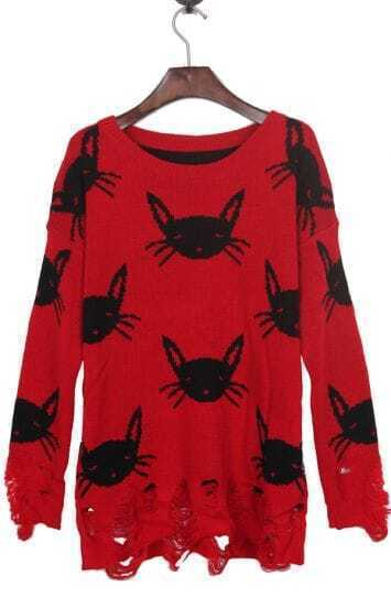 Red Shredded Distressed with White Cats Sweater