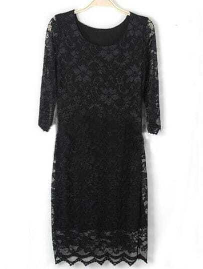 Black Half Sleeve Embroidery Lace Dress