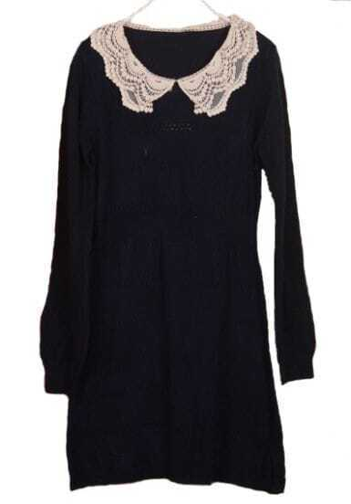Navy Lace Lapel Long Sleeve Embroidery Dress