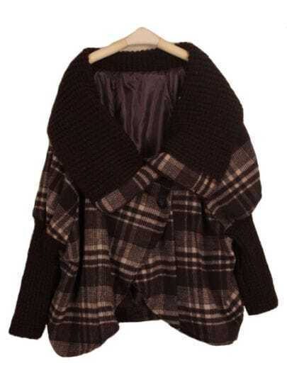 Coffee Batwing Long Sleeve Plaid Cape Coat