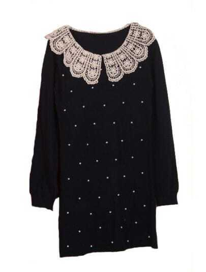 Black Lace Lapel Long Sleeve Embroidery Pearls Dress