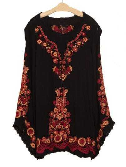 Black Long Sleeve Embroidery Tribal Print Dress