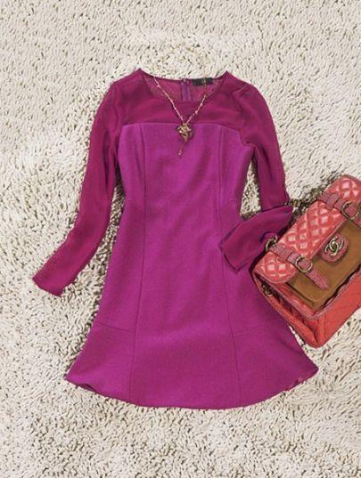 Rose Red Sheer Long Sleeve Ruffles Dress