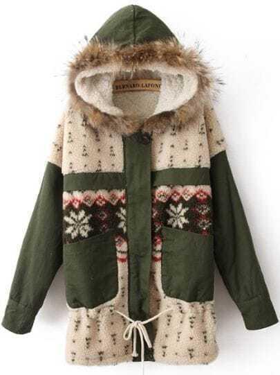 Green Fur Hooded Long Sleeve Snowflake Coat