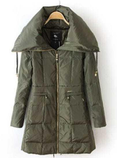 Green Long Sleeve Cuff Zipper Down Coat
