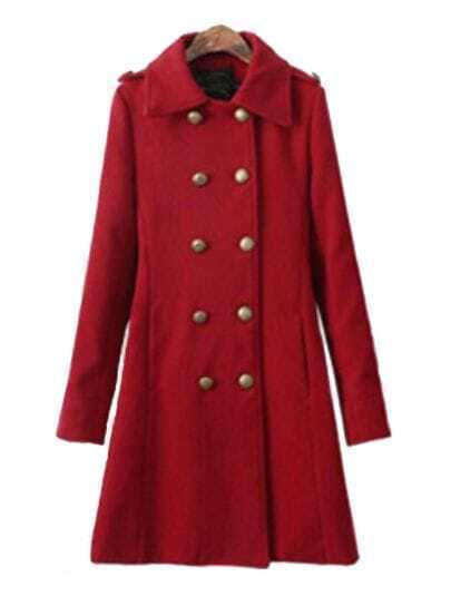 Red Lapel Long Sleeve Double Breasted Pockets Coat
