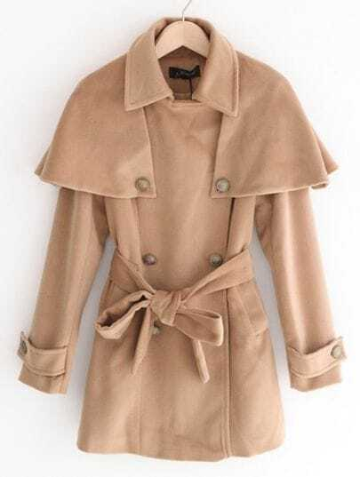 Camel Long Sleeve Shoulder Cape Drawstring Waist Coat