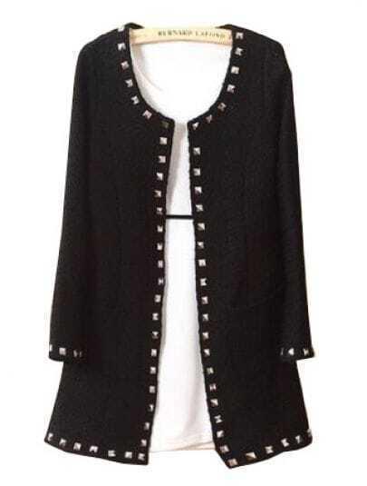 Black Round Neck Long Sleeve Rivet Trench Coat