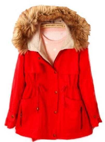 Red Coat With Fur Hood