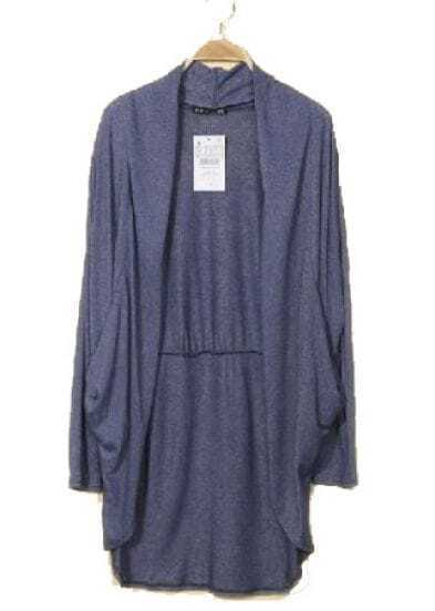 Blue Collarless Long Sleeve Loose Sweater