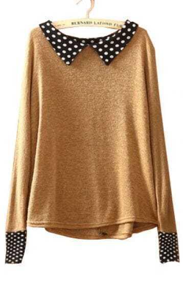 Coffee Lapel Long Sleeve Polka Dot Pullovers Sweater
