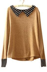 Coffee Lapel Long Sleeve Polka Dot Pullovers Sweater