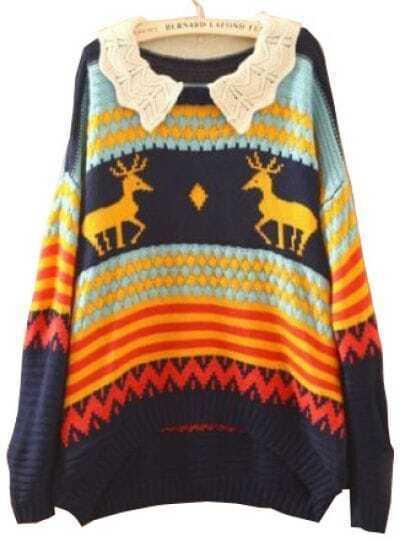 Navy Long Sleeve Deer Print Batwing Pullovers Sweater