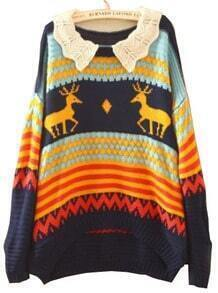 Navy Long Sleeve Deer Print Batwing Pullovers Sweater