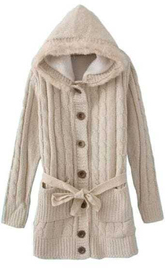 Beige Hooded Long Sleeve Drawstring Pockets Cardigan Sweater