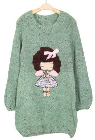Green Long Sleeve Girl Bow Embellished Mohair Sweater