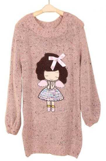 Pink Long Sleeve Girl Bow Embellished Mohair Sweater
