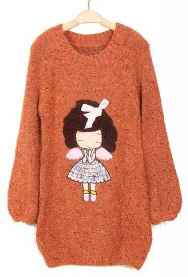 Orange Long Sleeve Girl Bow Embellished Mohair Sweater