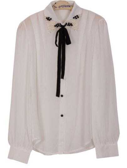 White Lapel Long Sleeve Pearls Bow Chiffon Blouse