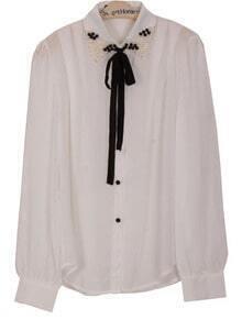 White Lapel Long Sleeve Pearls Bow Chiffon Blouse