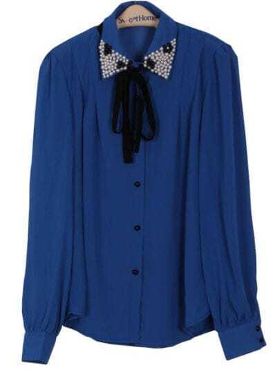 Blue Lapel Long Sleeve Pearls Bow Chiffon Blouse