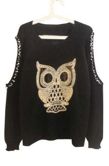 Black Off the Shoulder Beading Owl Embroidery Sweater