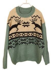 Green Batwing Long Sleeve Deer Embroidery Sweater