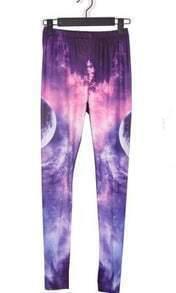 Purple and Pink Earth Galaxy Dip Dye Legging
