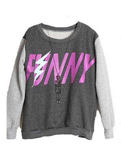 Grey Long Sleeve Letters Print Loose Sweatshirt