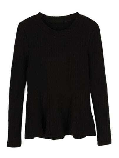 Black Long Sleeve Elastic Ruffles T-Shirt