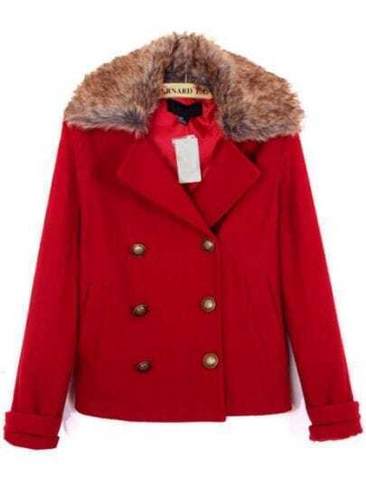 Red Fur Lapel Long Sleeve Buttons Coat