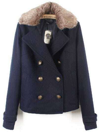 Navy Fur Lapel Long Sleeve Buttons Coat