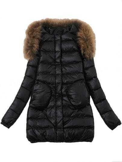 Black Removable Fur Neck Long Sleeve Pockets Coat