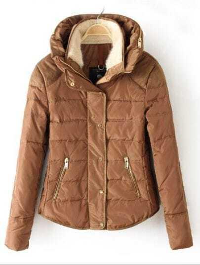 Camel Hooded Long Sleeve Zipper Pockets Down Coat