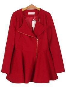 Red Lapel Long Sleeve Zipper Ruffles Coat