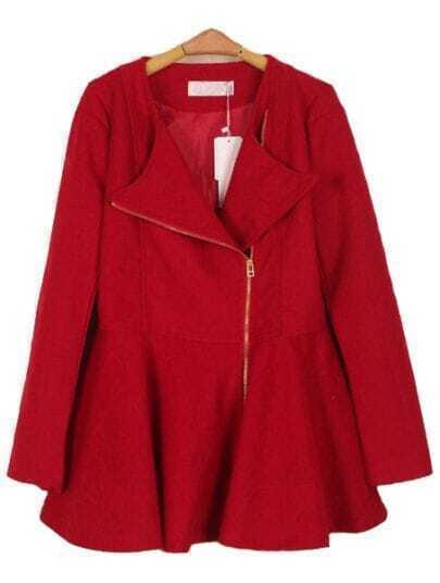 Red Lapel Long Sleeve Zipper Ruffles Coat